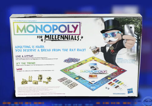 photo of the back of the monopoly for millennials board game box