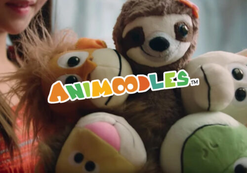 photo of a young child holding an animoodles toy with the animoodles logo in front