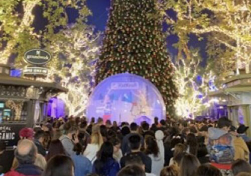 photo of the kid kraft life size snow globe at the Annual Tree Lighting Celebration at Christmas at The Grove in Los Angeles