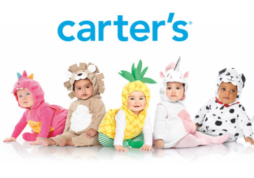 graphic with carter's logo above five babies dressed up for halloween