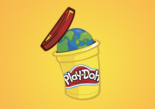 cartoon graphic of a planet earth popping out of a play-doh container