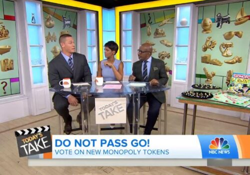 photo of anchors on the nbc news today show discussing the vote on new monopoly tokens